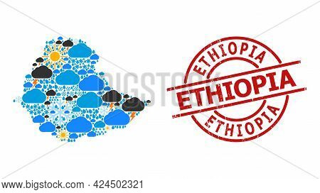 Weather Collage Map Of Ethiopia, And Distress Red Round Badge. Geographic Vector Collage Map Of Ethi