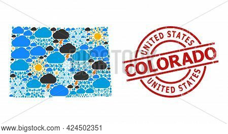Climate Mosaic Map Of Colorado State, And Scratched Red Round Badge. Geographic Vector Mosaic Map Of