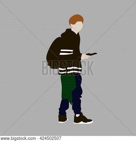 Vector Illustration Of Kpop Street Fashion. Street Idols Of Koreans. Kpop Men's Fashion Idol.a Guy I