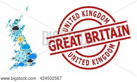Climate Collage Map Of Great Britain, And Rubber Red Round Badge. Geographic Vector Collage Map Of G