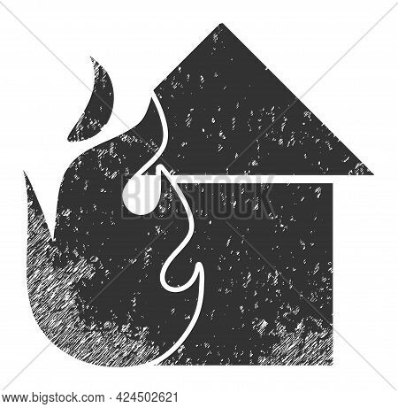 Fired House Icon With Grunge Style. Isolated Raster Fired House Icon Image With Unclean Rubber Textu