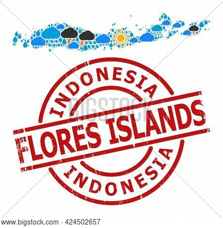 Weather Pattern Map Of Indonesia - Flores Islands, And Scratched Red Round Stamp Seal. Geographic Ve