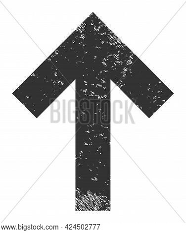 Up Direction Arrow Icon With Scratched Style. Isolated Vector Up Direction Arrow Icon Image With Scr