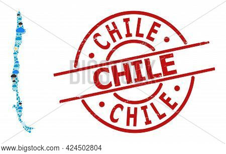 Weather Mosaic Map Of Chile, And Grunge Red Round Badge. Geographic Vector Collage Map Of Chile Is O