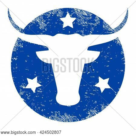 American Bull Logo Icon With Scratched Effect. Isolated Vector American Bull Logo Icon Image With Sc