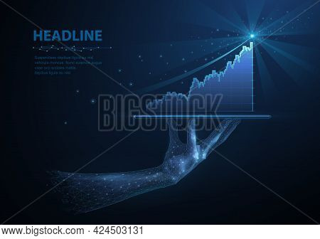 Statistic Of Growth. Abstract Digital Diagram Of Increasing Success On Businessman Hand. Stock Marke