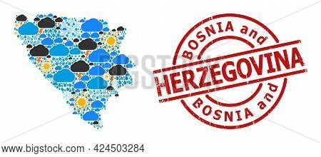 Weather Collage Map Of Bosnia And Herzegovina, And Distress Red Round Stamp. Geographic Vector Colla