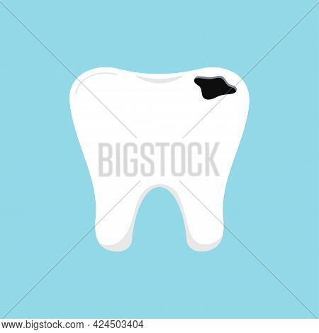 Tooth Decay Dental Icon Isolated On Blue Background.