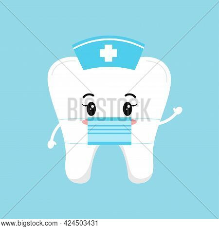 Cute Tooth Nurse With Medical Cap And Surgical Mask.