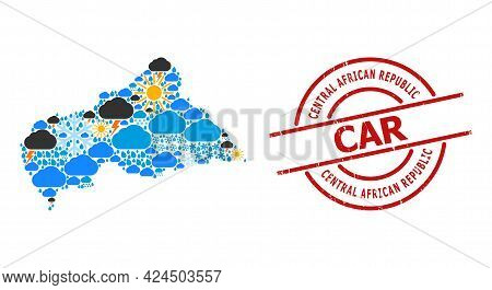 Climate Mosaic Map Of Central African Republic, And Rubber Red Round Stamp Seal. Geographic Vector M