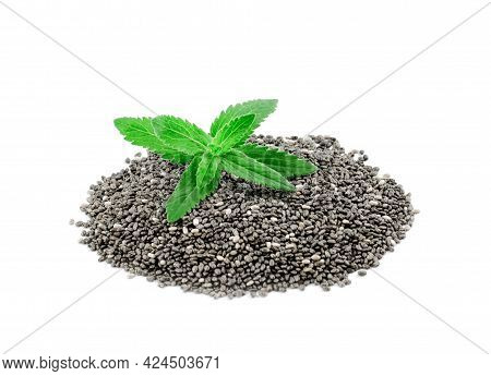 Chia Seeds And Green Chia Leaves On White Background, Isolate