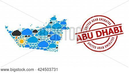 Weather Pattern Map Of Abu Dhabi Emirate, And Distress Red Round Seal. Geographic Vector Concept Map