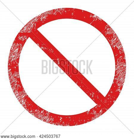 Restricted Icon With Scratched Effect. Isolated Vector Restricted Icon Image With Corroded Rubber Te