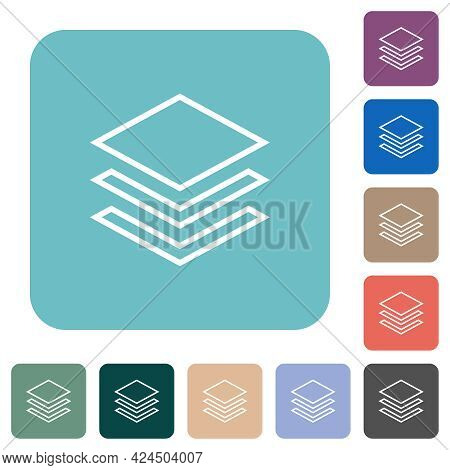 Layers White Flat Icons On Color Rounded Square Backgrounds