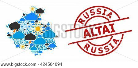 Climate Pattern Map Of Altai Republic, And Rubber Red Round Stamp. Geographic Vector Concept Map Of