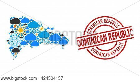 Climate Pattern Map Of Dominican Republic, And Rubber Red Round Stamp. Geographic Vector Composition