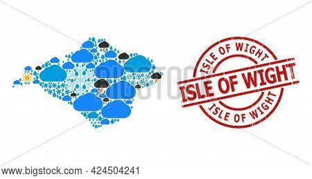 Weather Collage Map Of Isle Of Wight, And Scratched Red Round Stamp Seal. Geographic Vector Concept