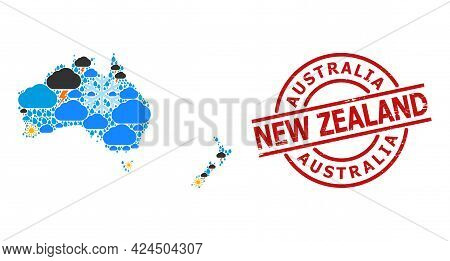 Climate Pattern Map Of Australia And New Zealand, And Textured Red Round Stamp Seal. Geographic Vect