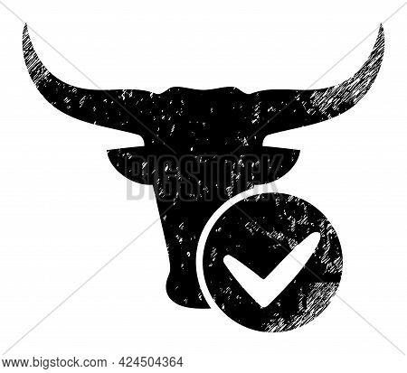 Approved Beef Icon With Grunge Style. Isolated Vector Approved Beef Icon Image With Grunge Rubber Te