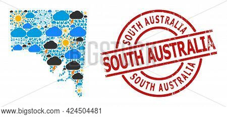 Climate Pattern Map Of South Australia, And Grunge Red Round Badge. Geographic Vector Mosaic Map Of