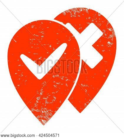 Place Advices Icon With Grunge Style. Isolated Vector Place Advices Icon Image With Unclean Rubber T