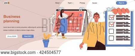 Business Planning Web Concept. Employees Perform Work Tasks, Time Management Scene. Banner Template