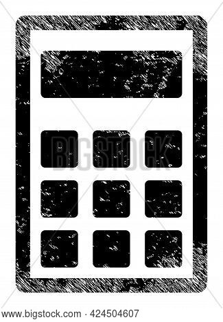 Calculator Icon With Scratched Style. Isolated Vector Calculator Icon Image With Scratched Rubber Te
