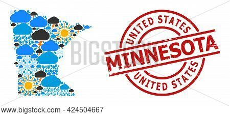 Weather Collage Map Of Minnesota State, And Distress Red Round Seal. Geographic Vector Collage Map O