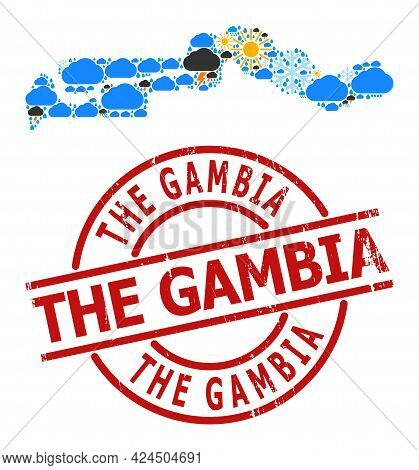 Climate Mosaic Map Of The Gambia, And Grunge Red Round Stamp Seal. Geographic Vector Mosaic Map Of T