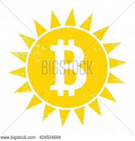 Bitcoin Shine Icon With Grunge Style. Isolated Vector Bitcoin Shine Icon Image With Grunge Rubber Te