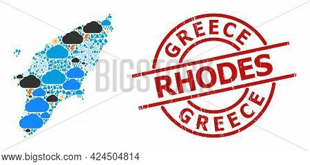 Weather Mosaic Map Of Rhodes Island, And Rubber Red Round Seal. Geographic Vector Mosaic Map Of Rhod