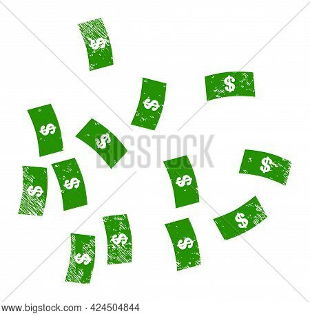 Dollar Banknotes Icon With Scratched Effect. Isolated Vector Dollar Banknotes Icon Image With Scratc