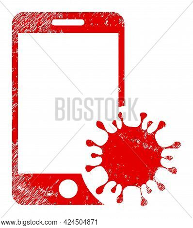 Infected Smartphone Icon With Scratched Effect. Isolated Vector Infected Smartphone Icon Image With