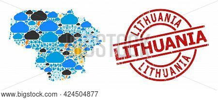 Climate Pattern Map Of Lithuania, And Scratched Red Round Seal. Geographic Vector Collage Map Of Lit