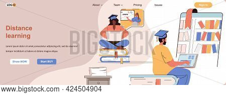 Distance Learning Web Concept. Students Studying In Online Courses, E-learning Scene. Banner Templat