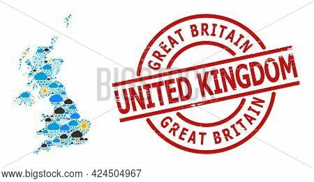 Climate Collage Map Of United Kingdom, And Grunge Red Round Stamp. Geographic Vector Collage Map Of