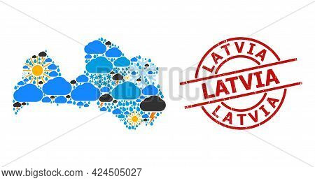Weather Mosaic Map Of Latvia, And Rubber Red Round Badge. Geographic Vector Mosaic Map Of Latvia Is