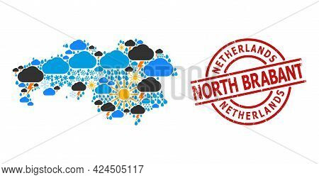 Weather Collage Map Of North Brabant Province, And Textured Red Round Badge. Geographic Vector Colla