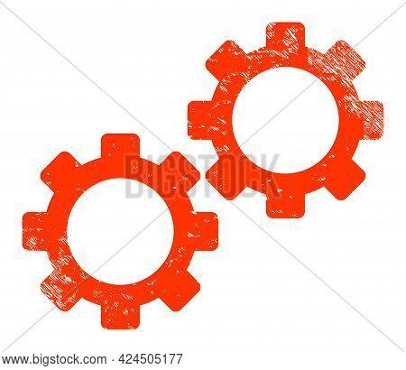 Gear Mechanics Icon With Grunge Effect. Isolated Vector Gear Mechanics Icon Image With Grunge Rubber