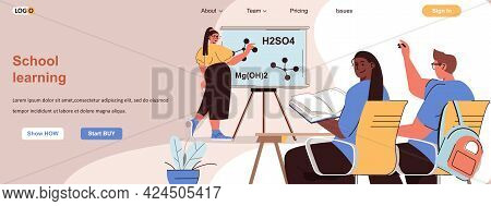 School Learning Web Concept. Teenagers Pupils Studying At Lessons In Classroom Scene. Banner Templat