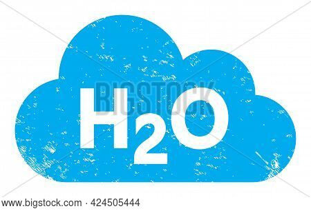 Water Fog Icon With Scratched Style. Isolated Vector Water Fog Icon Image With Scratched Rubber Text