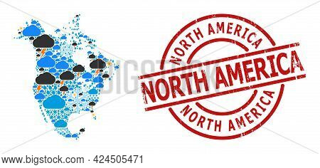 Climate Collage Map Of North America, And Rubber Red Round Stamp. Geographic Vector Collage Map Of N