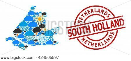 Climate Mosaic Map Of South Holland, And Grunge Red Round Seal. Geographic Vector Mosaic Map Of Sout