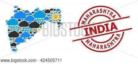 Climate Collage Map Of Maharashtra State, And Textured Red Round Stamp Seal. Geographic Vector Mosai