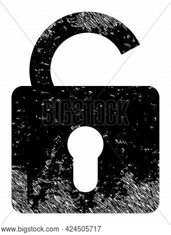 Unlock Icon With Scratched Style. Isolated Vector Unlock Icon Image With Grunge Rubber Texture On A