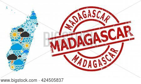 Climate Mosaic Map Of Madagascar Island, And Grunge Red Round Stamp. Geographic Vector Mosaic Map Of