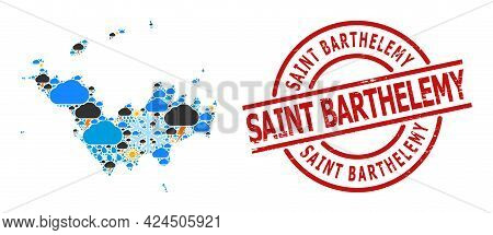 Climate Mosaic Map Of Saint Barthelemy, And Textured Red Round Badge. Geographic Vector Mosaic Map O
