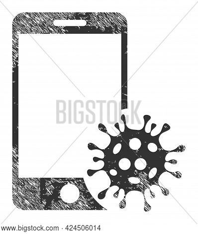 Smartphone Virus Icon With Scratched Effect. Isolated Vector Smartphone Virus Icon Image With Scratc
