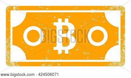 Bitcoin Bill Icon With Scratched Effect. Isolated Vector Bitcoin Bill Icon Image With Scratched Rubb
