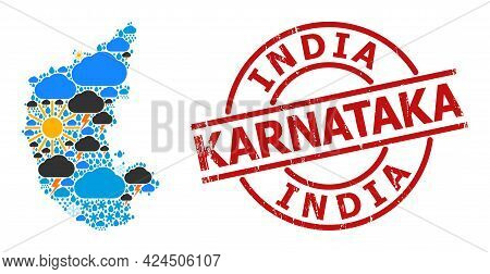Climate Pattern Map Of Karnataka State, And Grunge Red Round Seal. Geographic Vector Composition Map